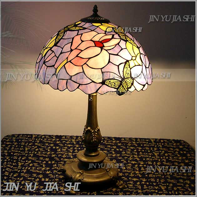 Tiffany Retro Purple Butterfly color art glass table lamp pastoral bedroom study room lamp 12inch