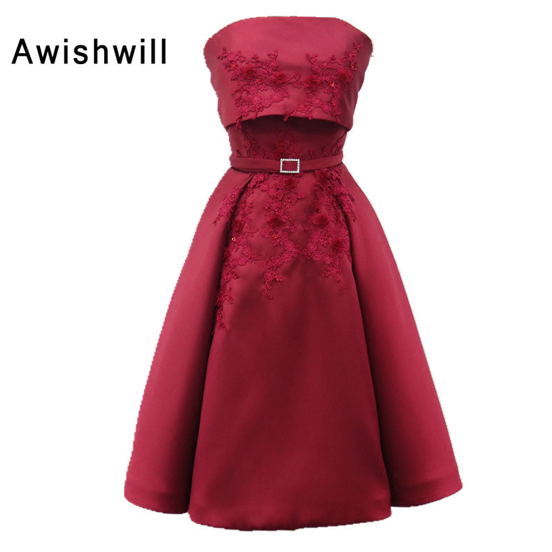 Real Photo Strapless Burgundy Dress For Paty Knee-Length Appliques Satin A-line Elegant Cocktail Dress Homecoming Dresses Short