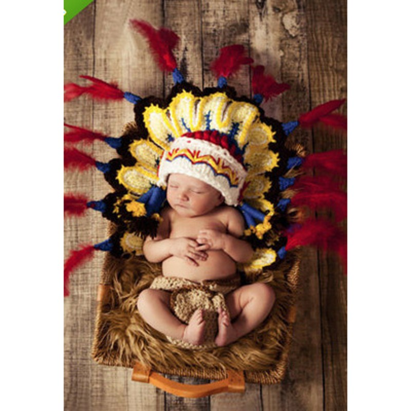 Newborn Baby Girls Boys Indian style Crochet Knit Costume Photo Photography Prop Outfits newborn accessories cute newborn baby girls boys crochet knit costume photo photography prop outfit one size baby bodysuit hat 2pcs