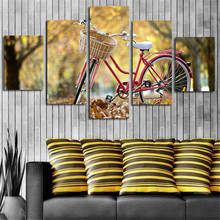 Unframed 5 Panels Wall Art Picture Autumn Bicycle Home Decorative Canvas Art Paintings Printed Posters For Living Room(China)