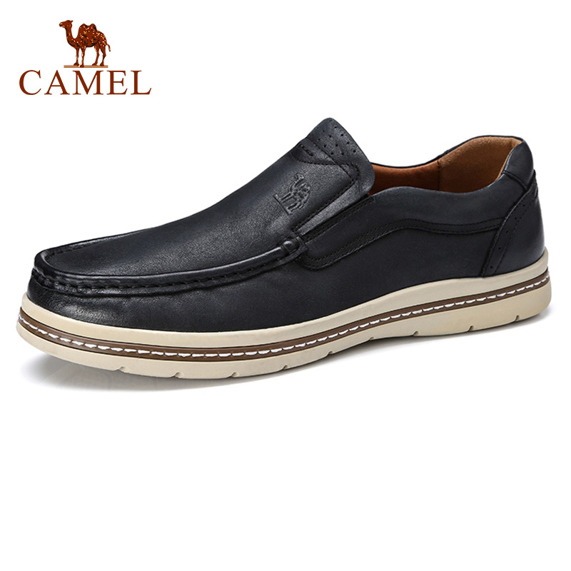 CAMEL Men Shoes Autumn Retro Matte Genuine Leather Loafers Man Casual Soft Foldable Flats England Trend