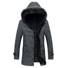 2016 зима мужская мода досуга мужской толщиной с капюшоном пальто шерстяное пальто мужчины двойной грудью пальто куртки ветровка