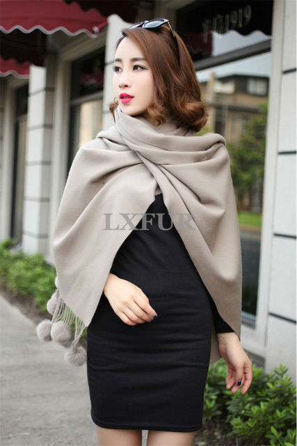 2017 New Womens Real Wool Shawls With Rabbit Fur Ball Spring Soft Wraps Girls Solid Scarves Pashmina Free Shipping LX100318