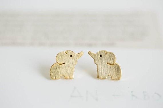 Mini Elephant Earrings Elephant Lovers Earrings Animal Jewelry Elephant Jewelry