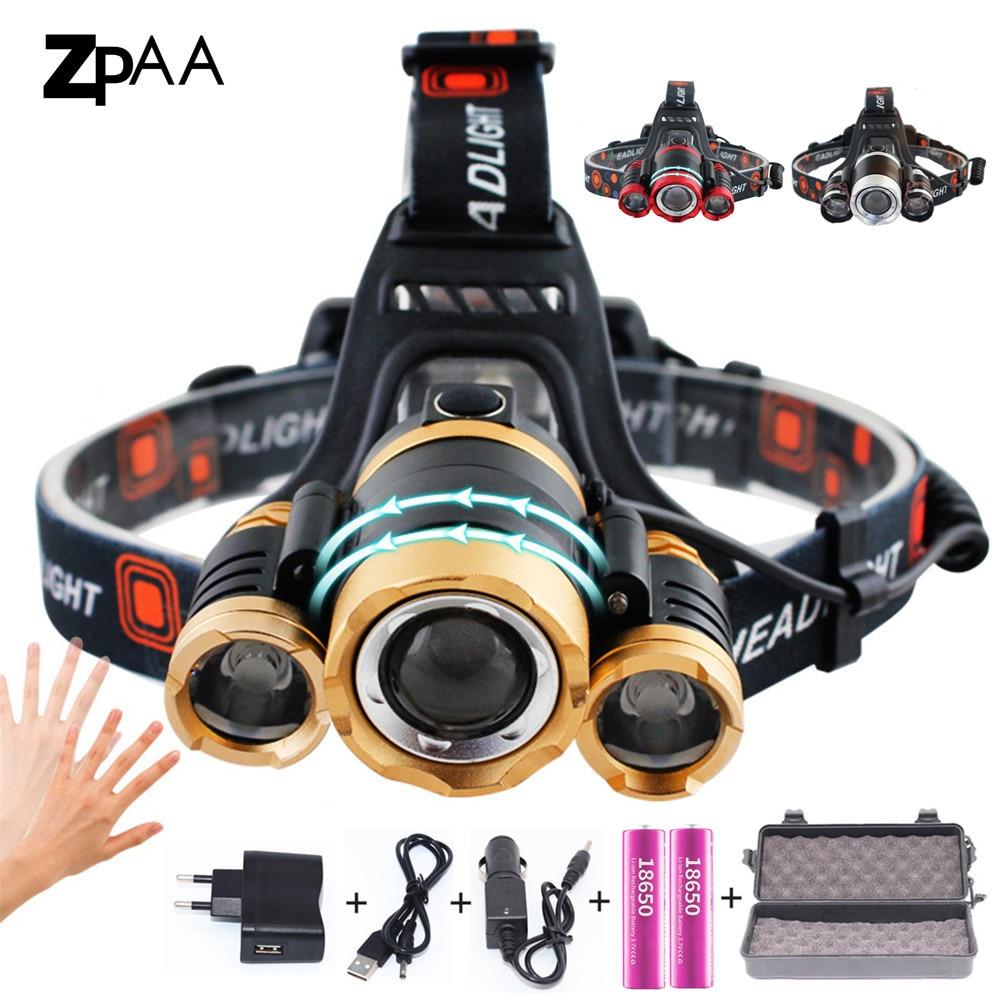 ZPAA LED Scheinwerfer Zoomable 15000Lm T6 Kopf Taschenlampe Sensor Wiederaufladbare Kopf Licht Stirn Lampe Kopf Angeln Scheinwerfer