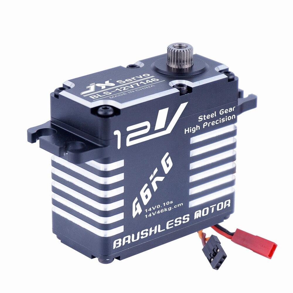 Supérieure Passe-Temps Jx BLS-12V7146 46 kg 12 v Haute Précision Engrenages En Acier Plein CNC En Aluminium Shell Numérique Brushless Servo Standard