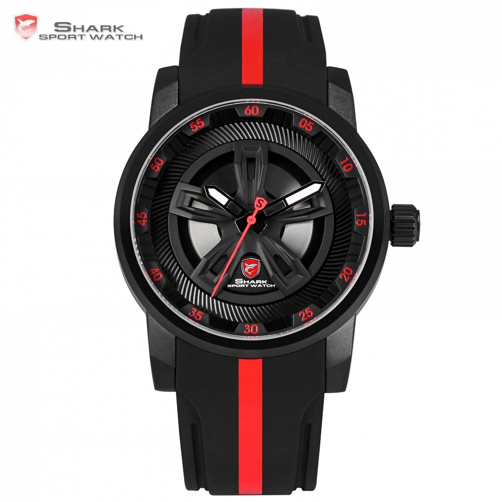 Thresher SHARK Sport Watch Brand Red Racing Car Wheel Design Quartz Movement Silicone Watches Waterproof New Relogio Gift/SH502 snaggletooth shark sport watch lcd auto