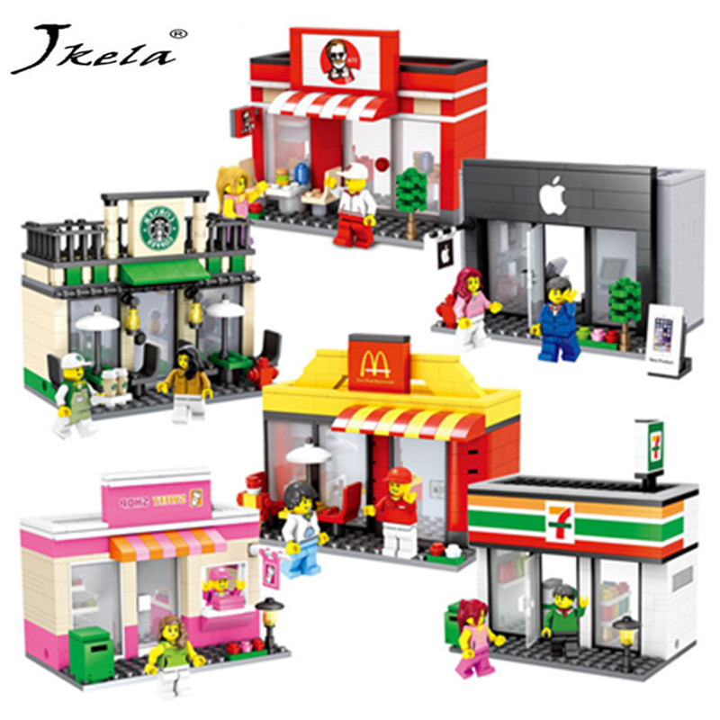 [New] Mini Street Model Store Shop with Apple Store McDonald`s Building Block Toys Compatible with Legoingly Model block