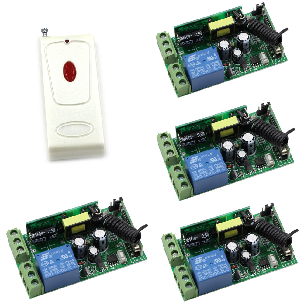 AC 85-250V Wireless Remote Control Switch Radio Light Switch 1CH Relay Wireless Remote Power ON OFF 4 X Receiver + Transmitter ac 220v wireless remote control switch remote on off 1ch 10a relay radio light switch receiver 3000m long range transmitter
