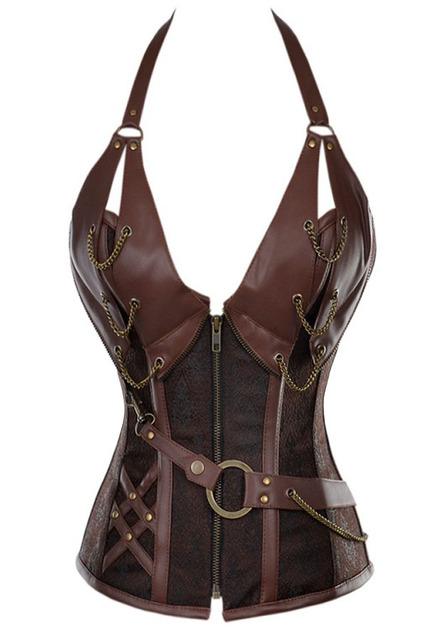 Sexy 14 del hueso de acero de cuero steampunk corsé con tanga mujeres bustier underwear lc5401 nueva cosecha 2017 corselet en venta
