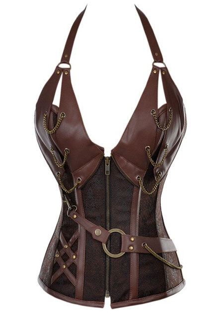 sexy 14 Steel Bone Steampunk Leather Corset with Thong women bustier underwear LC5401 new 2017 corselet crop on sale