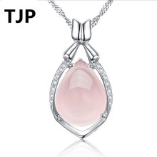TJP Top Quality 925 Sterling Silver Pendants Necklace For Women Wedding Party Cute Girl Pink Crystal Stones Jewelry Hot