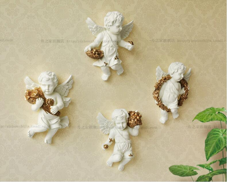European style small angel wall decoration creative wall pendant household living room decoration in Bottles Jars Boxes from Home Garden