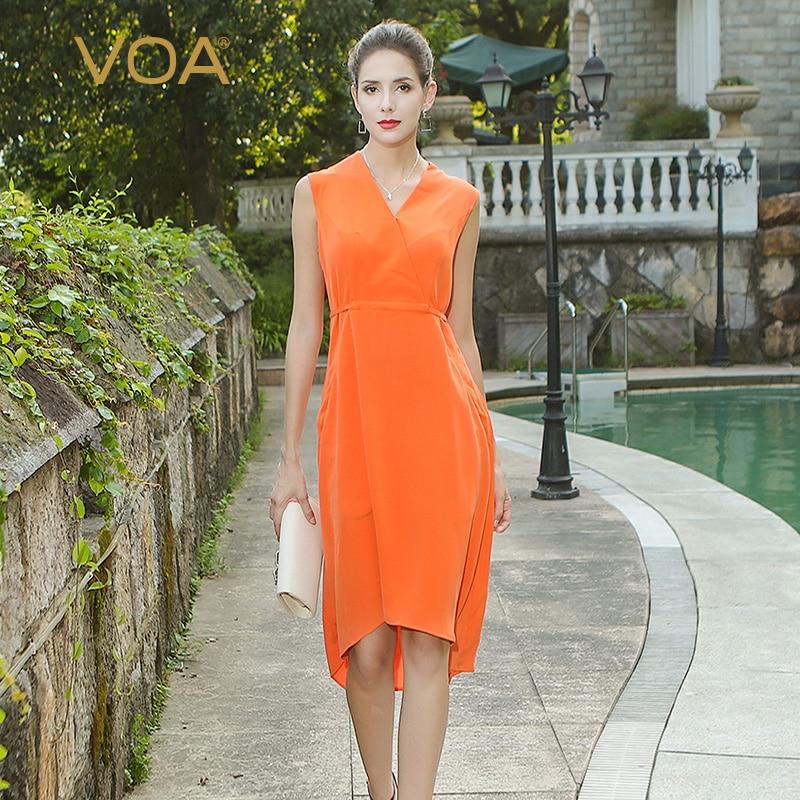VOA orange A sleeveless V lead silk dress female simple splicing straight