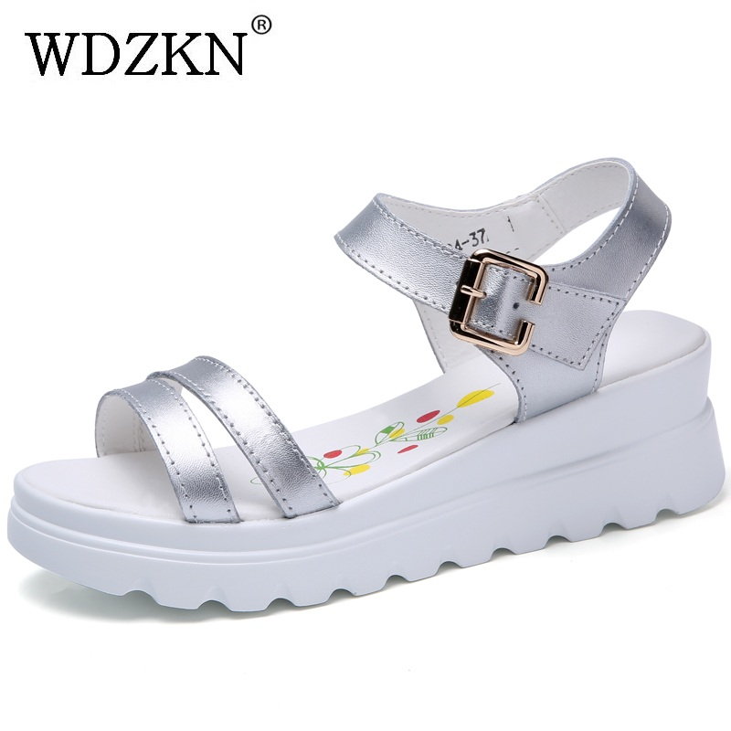 WDZKN New Women Wedge Sandals Fashion Concise Peep Toe Split Leather Platform Sandals Comfortable Soft Summer Women Shoes H0304 wdzkn new summer wedge sandals women high heels 8 5cm black white comfortable women platform sandals pu leather female shoes
