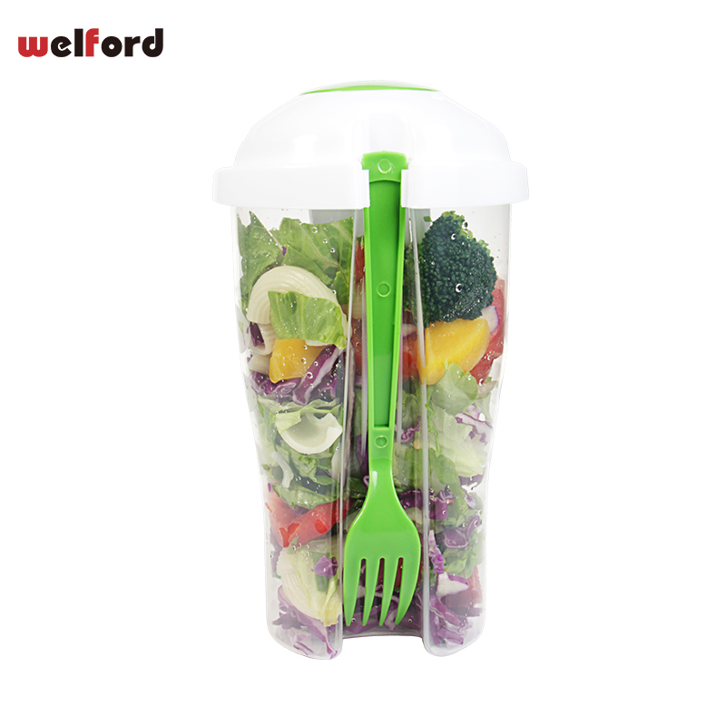 Fresh Salad Cup Bowl Container Serving Cup Shaker with Dressing Container Fork Food Storage for Picnic PP Salad Tools image