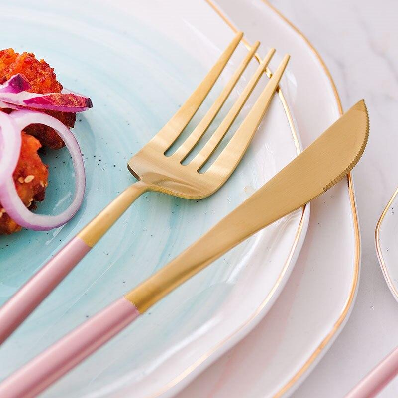KuBac 30 sztuk zestaw sztućców różowe złoto zestaw stołowy 18/10 widelec ze stali nierdzewnej nóż miarka zestaw sztućce zestaw z małe owoce widły w Zestawy naczyń obiadowych od Dom i ogród na  Grupa 3