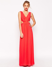 2015 Marvelous A Line Beautiful Red Bridesmaid Dresses Floor Length Chiffon Wedding Guest Dresses Vestido Casamento