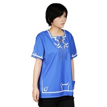 Xcoser Zelda Link T-shirt Game The Legend of Zelda Cosplay Costume Blue Unisex Tops Casual Summer Short Sleeve Shirt Vest