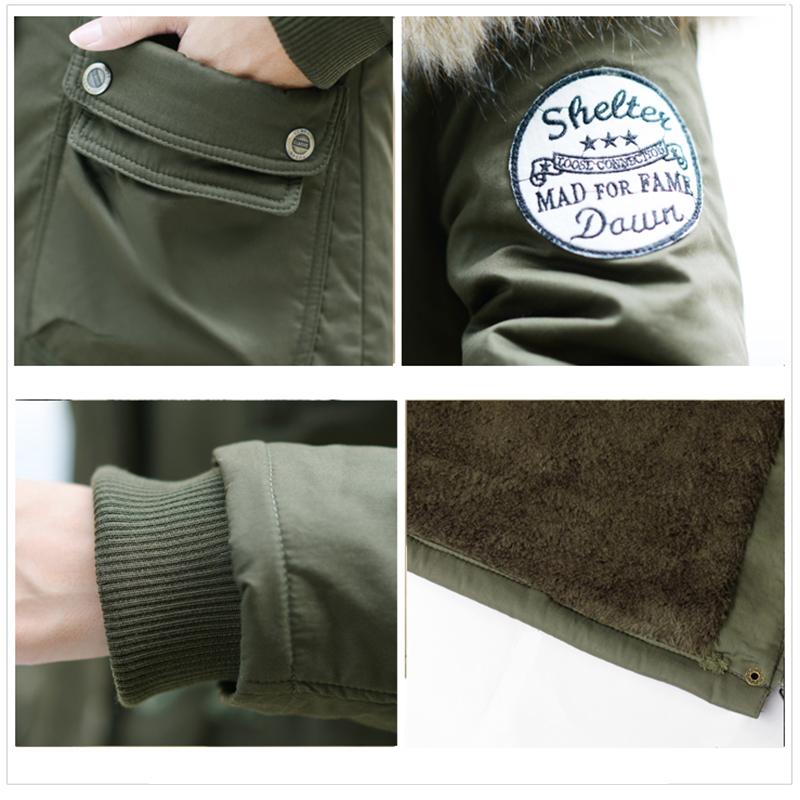 Adjustable Waist Women Parkas Big Pockets Fur Hooded Long Coats Female Outwear Cotton Warm Winter Ladies Jackets Coat MDEW541 16