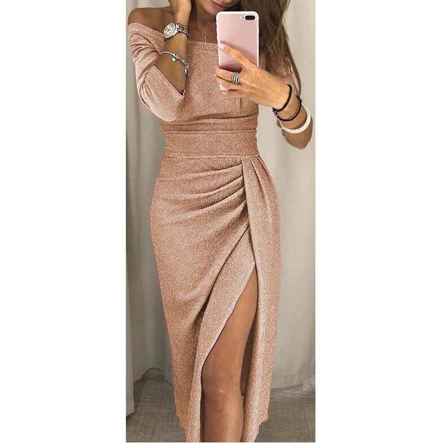 fa22423df47 US $8.99 |Women Sexy Sparkly Glitter Dress Shine Sequin Off Shoulder Mid  calf Dress Front Split Robe Bodycon Party Midi Dress AM0168-in Dresses from  ...