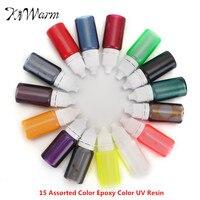 KiWarm 15 Sztuk Mix 15 Kolory 10 ml Pigment Żywica Epoksydowa UV żywica Kolorowanki Barwnik Barwnik Pigmentowy DIY Narzędzia Handmade DIY Craft materiałów eksploatacyjnych