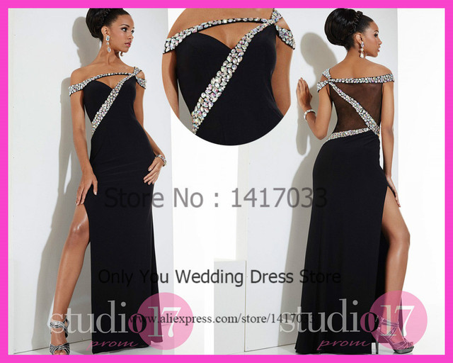 Sensual Black Crystal Mermaid Dress Up Games Prom Dress Floor Length ...