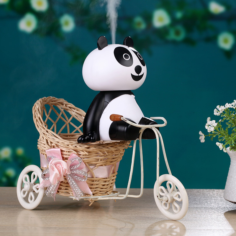 Cartoon USB Panda Air Humidifier Ultrasonic Desk Humidifiers Mist Maker Mini Portable Household Air Purifier 120ml 5pcs lot 8 130mm replacement cotton swab for air ultrasonic humidifiers mist maker humidifier part replace filters can be cut