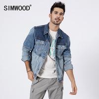SIMWOOD 2019 short contrast panel denim jacket men fashion 100% cotton hip hop streetwear moto biker coats brand clothing 190109