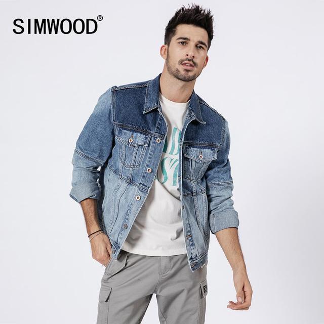 سترة من SIMWOOD 2020 قصيرة بألوان متباينة من قماش الدنيم موضة الرجال لعام 100% معاطف هيب هوب من القطن ماركة moto biker ملابس ماركة 190109