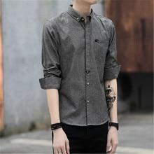 VISADA JAUNA 2018 Spring Long-sleeved Shirts Men Dress In Mens Casual Shirts Printed Men's Fashion Slim Fit Shirt Big Size N8833