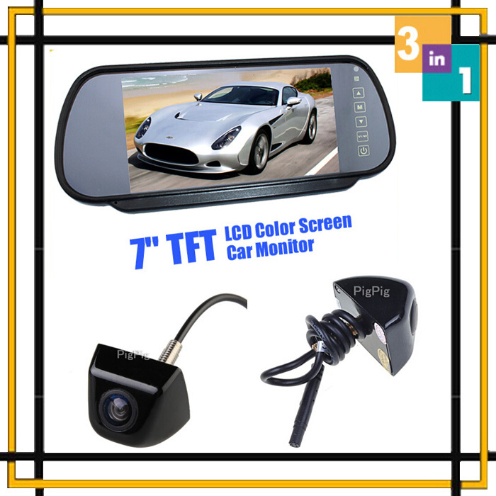 Wholesale 3in1 Hd 7 Lcd Car Mirror Monitor Parking DVD VCD Screen security+ CCD Rear View Camera+front Camera Parking assist hd 7 lcd car mirror monitor parking dvd vcd gps tv screen car europe license plate frame rearview camera w 4 led night vision