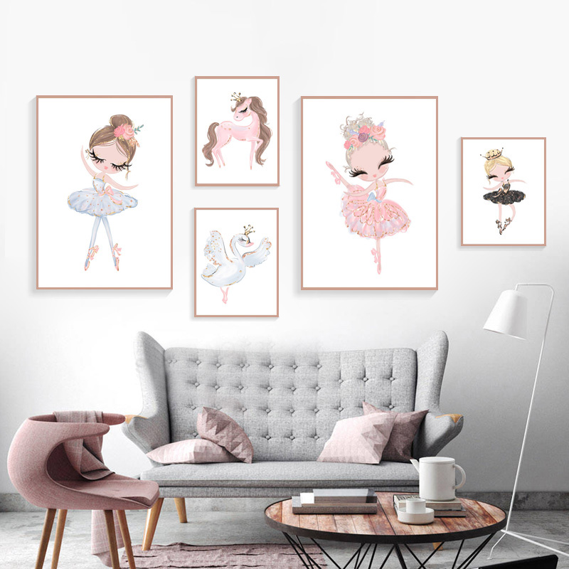 Ballet-Princess-Nursery-Nordic-Poster-Unicorn-Wall-Art-Canvas-Painting-Swan-Wall-Pictures-For-Children-Room