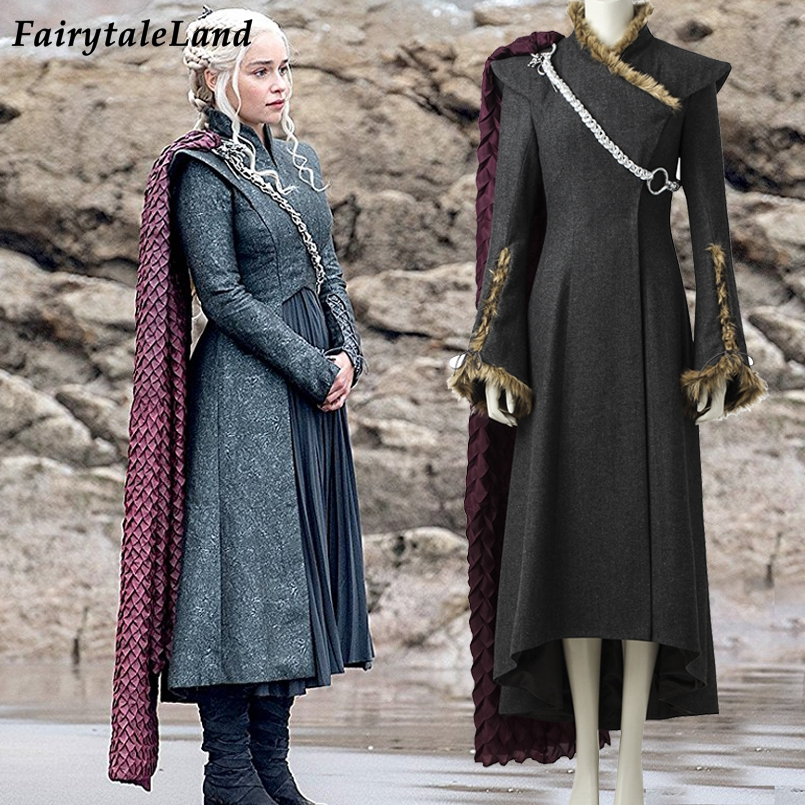 Daenerys Targaryen cosplay costume with Red cloak boots Cosplay Game of Thrones Season 7 Dragon Daenerys