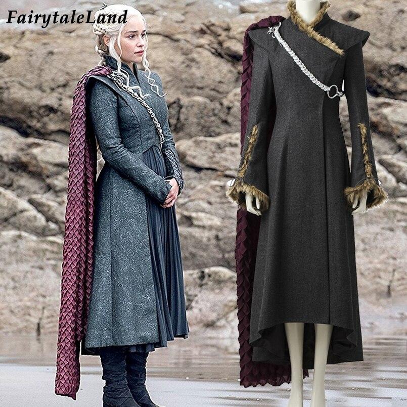 Daenerys Targaryen cosplay costume with Red cloak boots Cosplay Game of Thrones Season 7 Dragon Daenerys Targaryen dress costume