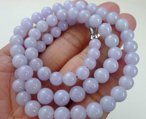 Free shipping 001614 CERTIFIED Chinese Natural Lavender (Jadeite) 7-8mm Smooth Bead Necklace free shipping ddh006 light green natural a jadeite beads necklace lavender