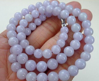 Free shipping 001614 CERTIFIED Chinese Natural Lavender (Jadeite) 7 8mm Smooth Bead Necklace