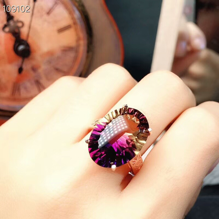 MeiBaPJ Dream Cut Natural Ametrine Gemstone Fashion Ring for Women Real 925 Sterling Silver Fine
