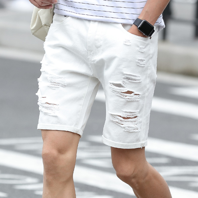 2caee46208 New Summer Man's Denim Jeans Shorts Men Ripped Hole shorts homme White Blue  Bermuda Style Shorts Male Casual Cotton men shorts