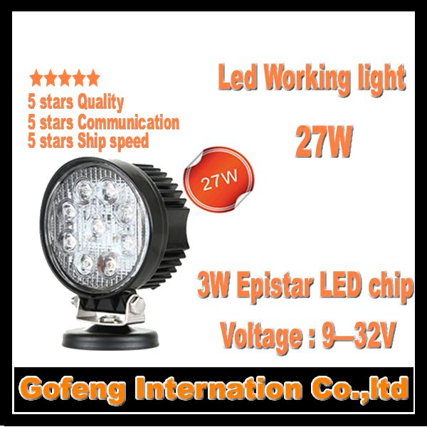 1PCS/LOT high quality DC10-30V IP67 4inch 27W Led Work Light Flood Beam For 4x4 Offroad Truck car lamp free shipping