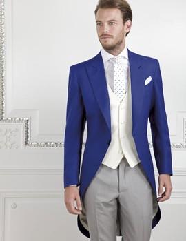 Custom italian western style navy Blue Groom Tuxedos Groomsmen dress Men's Wedding Suits Best man Suits (Jacket+Pants+Vest+Tie)
