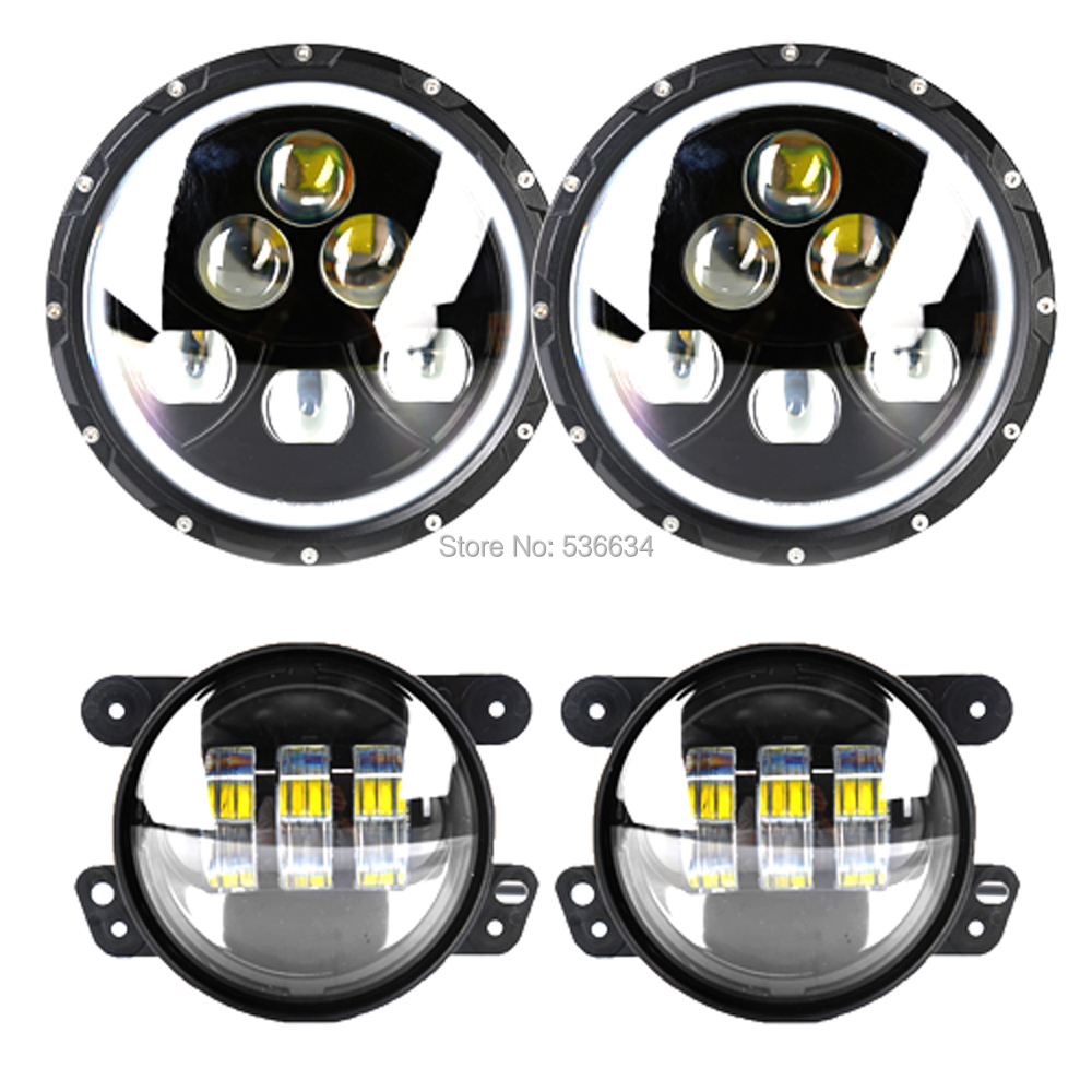 7inch 60W Round LED Headlights H4 Auto Halo Ring DRL Hi/Low Beam + 4inch LED Auxiliary PassingFog Lights For Jeep Wrangler JK CJ