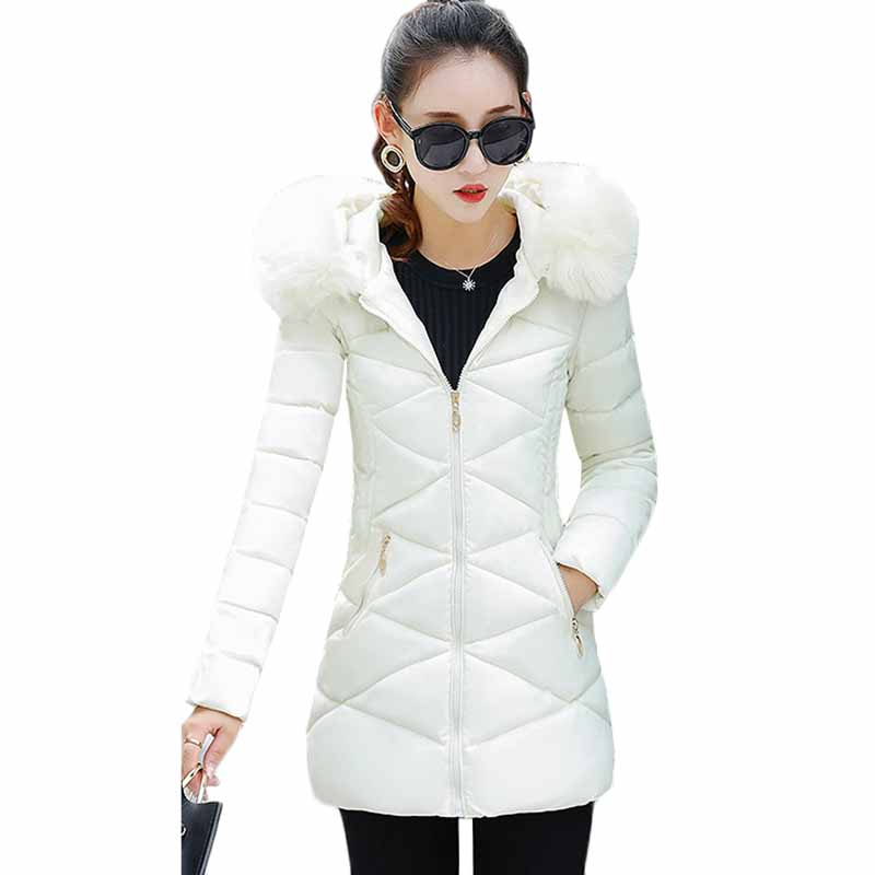 Winter Jacket Women 2018 Fashion Thick Warm Winter Down Cotton Jacket Women Parka Long Coat Slim Hooded Fur Collar Outerwear Z3