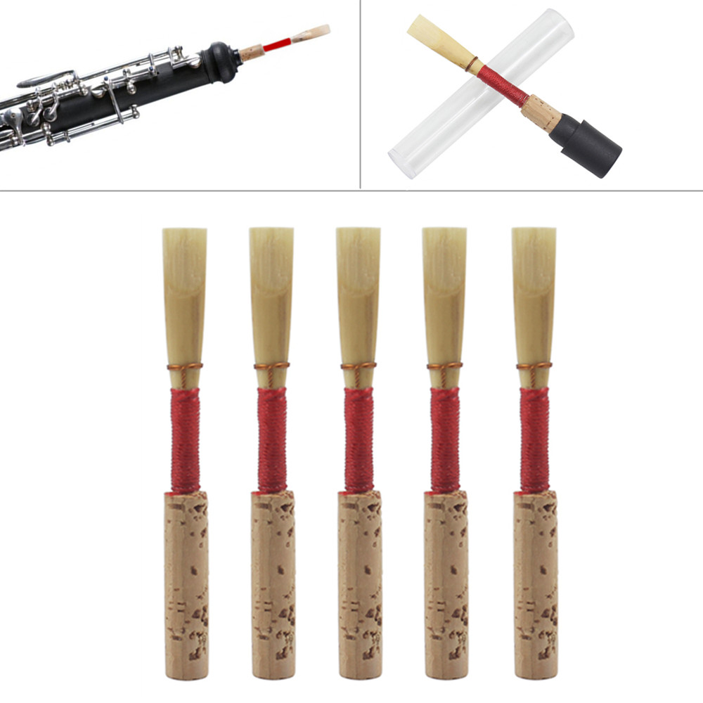 5pcs/set Bulrush Oboe Reed Soft Mouthpiece Orchestral Medium Wind Instrument Part Accessories With CKeys