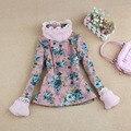 2016 crianças de inverno de vestuário infantil gola de pele de criança berber flor de lã pullover térmica camisa das meninas básica criança