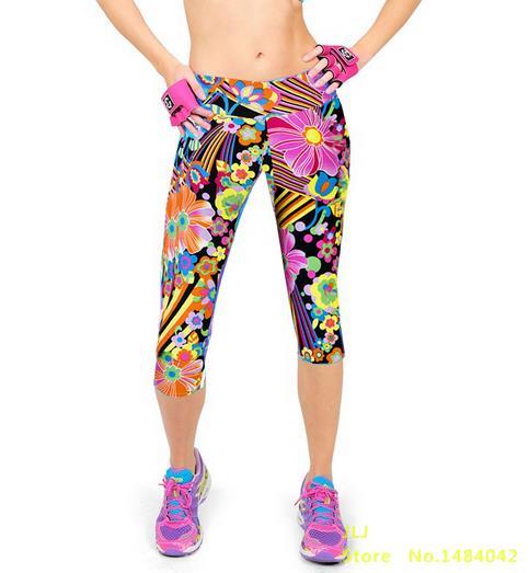 Новинка, 14 цветов, летние женские модные трикотажные хлопковые леггинсы на талии с принтом, леггинсы на талии, семь точек - Цвет: K058 NO 2