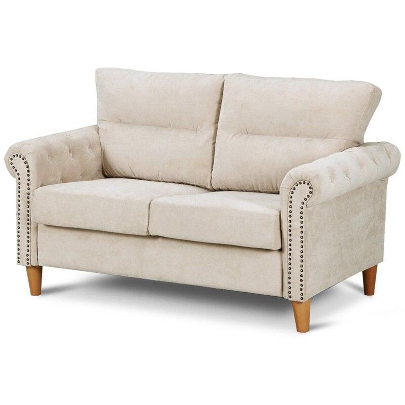 2 Seater Nailhead Linen Fabric Sofa