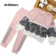 Girls Sports Suits Lace Girls Clothing Sets Sweatshirt + Pants Spring Autumn Kids Girls Outfit Clothes Age 4 6 8 10 12 14 Year