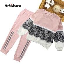 Trajes deportivos para niñas, ropa de encaje para niñas, conjunto de chándal + Pantalones, ropa para niños de 4, 6, 8, 10, 12 y 14 años