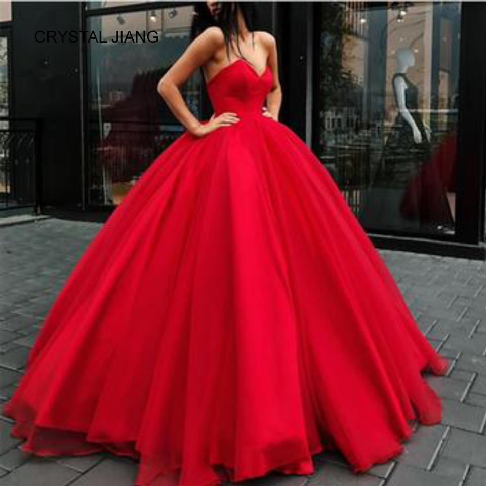 CRYSTAL JIANG 2018 Red Ball Gown Prom Dress Vestido longo vermelho Strapless Satin Organza Big Fashion Dress Red Prom Dresses silk